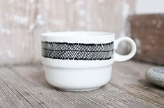 """One of a kind: Hand-painted vintage tea cup """"somewhat angular"""", black and white by RoomforEmptiness on Etsy https://www.etsy.com/listing/129333021/one-of-a-kind-hand-painted-vintage-tea"""