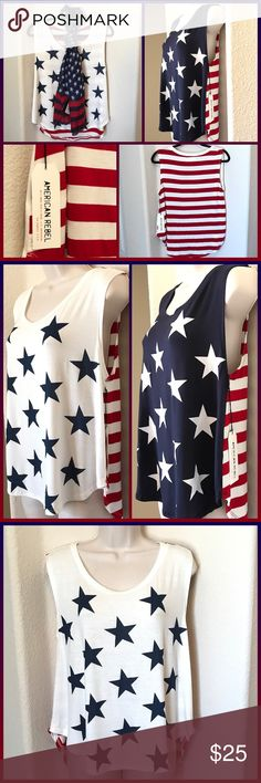 JUST IN 🆕 'PATRIOTIC' STAR SPANGLED TANK We are crazy about all things patriotic, so of course you'll want to grab this adorable top! Stars in the front with a star-spangled stripe on the back. This top is easy, breezy & fun! ▪️95% Rayon 5% Spandex  🛍BUNDLE=SAVE  🚫TRADE  ✈️Ship Same Day  🖲USE OFFER BUTTON TO NEGOTIATE   ✔️Ask Questions Not Answered In Description--Want You To Be Happy! American Rebel Tops Tank Tops