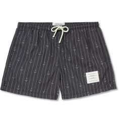 Thom Browne - Short-Length Anchor and Pinstripe-Print Swim Shorts | MR PORTER