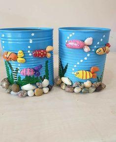 Романтика и декор   VK Stone Crafts, Rock Crafts, Diy Home Crafts, Creative Crafts, Diy Crafts For Kids, Art For Kids, Fish Crafts, Tin Can Crafts, Jar Crafts