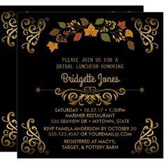 Fall Bridal Luncheon Elegant Gold | Wedding Shower Card - invitations custom unique diy personalize occasions