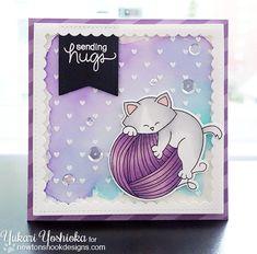 Cat and Yarn Card by Yukari Yoshioka | Newton Unwinds Stamp Set & Die Set by Newton's Nook Designs #newtonsnook