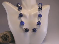 Blue Agate Necklace Blue Beaded Necklace by CathysCraftyDesigns