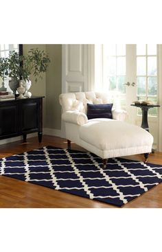 Available in charcoal and blue via Rugs USA