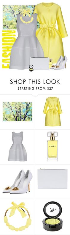 """""""P.A.R.O.S.H. dress and coat"""" by bodangela ❤ liked on Polyvore featuring Pottery Barn, P.A.R.O.S.H., Estée Lauder, Versace, Victoria Beckham, Sorelle Seclì and Beauty Is Life"""