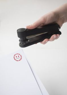 Stampler : Works like a normal stapler, prints a smiley face at the same time http://www.suck.uk.com/products