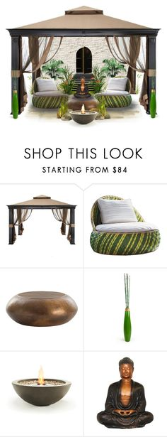 """""""Oriental Garden"""" by monicavast ❤ liked on Polyvore featuring interior, interiors, interior design, home, home decor, interior decorating, WALL, Puji, EcoSmart Fire and meditationcorner"""