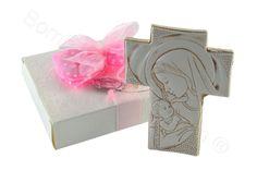 Crocefisso madonna con bambino bassorilievo con scatola di serie confezione rosa (AN)