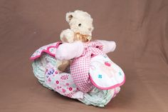 Motor bike nappy cake for a girl Nappy Cakes, Baby Car Seats, Bike, Children, Bicycle, Young Children, Boys, Kids, Bicycles