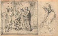 Die Heimkehr des Tobias - Detailstudie des Vaters und des Hundes von Johann Friedrich Overbeck