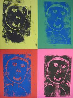 Leikittele grafiikan vedosten värityksillä ja luo And Warhol tyylisiä omakuvakollaaseja || Andy Warhol kids art projects #printmaking #diy #artproject #kuvataide #lastenkanssa #ideat