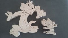 Puzzle bois Tom et Jerry Woodworking Projects For Kids, Woodworking Toys, Woodworking Patterns, Scroll Saw Patterns, Wood Patterns, Wood Crafts, Diy And Crafts, Wood Toys Plans, Intarsia Patterns