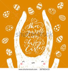 Hand drawn easter card with bunny and eggs on orange background. Vector illustration - stock vector #easter #bunny #rabbit