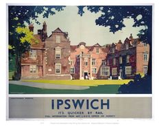 Vintage Transport Railway Rail Travel Poster Re Print Ipswich Posters Uk, Train Posters, Railway Posters, Poster Prints, Art Prints, Ipswich Suffolk, Ipswich England, British Travel, National Railway Museum