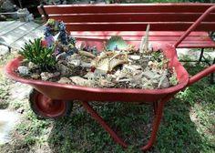 Upcycled fairy garden