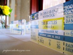 DIY Printable Escort Ticket Seating Cards / Concert Event / Interactive PDF / Wedding Reception Stationery