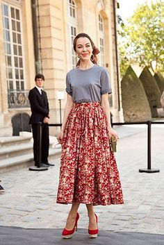 Ulyana in a floral skirt and tee