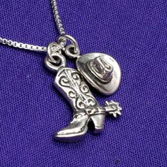 Country Girl Cowgirl Boot & Hat Charm Necklace