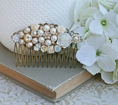 Bridal Collage Hair Comb  Vintage Wedding by FrenchAtticDesign