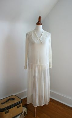 1920s Sheer White Cotton Collared Day Dress