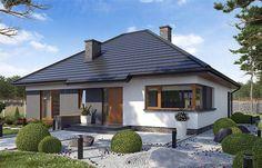 Projekt domu parterowego TK34 o pow. 110,42 m2 z dachem kopertowym, z tarasem, sprawdź! House Outside Design, Simple House Design, Modern Family House, Thai House, House Wiring, Contemporary Garden, Home Design Decor, Facade House, Design Case