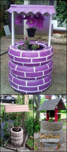 Make a wish in your own garden with this wishing well planter made from recycled tires!  It makes a great garden decor and it's so easy to make - you can finish it in hours.   You won't have to spend a lot for this DIY project since you can recycle old tires, a bucket, and some boards to get things going.                                                                                                                                                      More