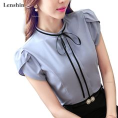 Cheap designer blouse, Buy Quality gray blouse directly from China tops ladies Suppliers: Lenshin o-neck petal sleeve bow shirt Gray blouse female elegant short sleeve women wear casual top ladies Style design Bow Shirts, Shirt Blouses, Petal Sleeve, Grey Blouse, Ladies Dress Design, Ladies Style, Casual Tops, Blouse Designs, Blouses For Women
