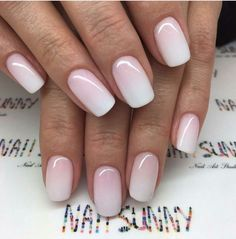 nails pink and white & nails pink ; nails pink and white ; nails pink and black ; nails pink and blue ; nails pink and gold Ombre French Nails, Pink Ombre Nails, Pink White Nails, Winter Wedding Nails, Winter Nails, Simple Wedding Nails, Natural Wedding Nails, Pink Wedding Nails, Plum Wedding