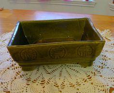 US Pottery oriental bonsai planter green by TreasuresFromTexas,