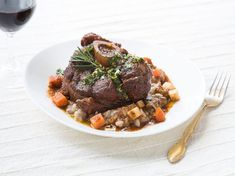 Osso Bucco takes time but is well worth the effort. Do take time to seek out veal for this recipe—its extra tenderness and more subtle flavor work wonders with the porcini risotto.