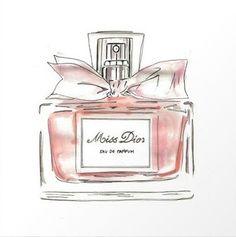 rosa Miss Dior Parfümflasche drucken wallart - Perfume bottles - Parfum Dior, Parfum Chloe, Dior Fragrance, Miss Dior, Perfume Chanel, Pink Perfume, Perfume Bottles, Modern Art Styles, Bottle Drawing
