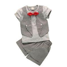 ファッション偽二人の子供格子紳士サービング赤ちゃん男の子夏半袖スーツパンツ2 3pc/