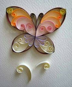 Easy Paper Quilling Butterfly craft for kids ~ variety of pattern ideas too Quilling Butterfly, Arte Quilling, Paper Quilling Designs, Quilling Paper Craft, Butterfly Crafts, Paper Crafting, Simple Butterfly, Paper Butterflies, Peacock Quilling