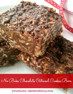 No Bake Chocolate Oatmeal Cookie Bars, Dairy-Free, Gluten-Free: