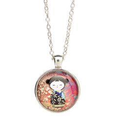 Look what I found on #zulily! Pink Asian Doll Necklace #zulilyfinds