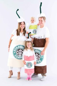 Last-minute DIY kids Halloween costumes that will make the holiday totally spook-tacular! Try this family Starbucks costume.