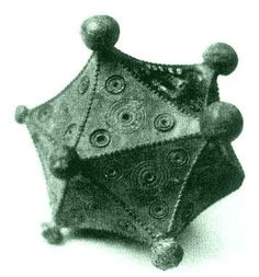 Roman icosahedron, hollow, bronze, and about 8 cm in diameter. The function of this object is unknown.