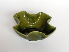 CIJ SALE Mid Century Ceramic Planter Vintage Moss Green Cross Shaped Art Pottery Bowl