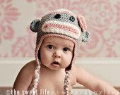 Girly Sock Monkey Hat- Gray with Light Pink and White. $28.00, via Etsy.
