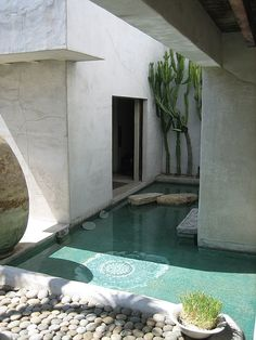 modern pond with stepping stones and river rock border
