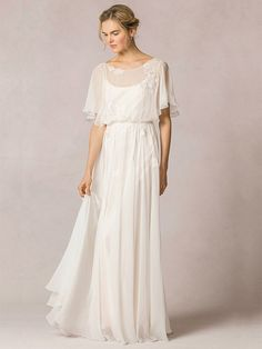 Shop affordable Sheath Scoop-Neck Floor-Length Poet-Sleeve Appliqued Chiffon Wedding Dress With Pleats at June Bridals! Over 8000 Chic wedding, bridesmaid, prom dresses & more are on hot sale. Wedding Dress Chiffon, Wedding Dress Sleeves, Perfect Wedding Dress, Silk Chiffon, Chiffon Dresses, Over 50 Wedding Dress, Lace Silk, Ivory Dresses, Half Sleeve Dresses