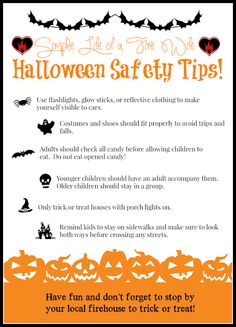 Halloween Safety Tips! Simple Life of a Fire Wife  www.simplelifeofafirewife.com Childrens Halloween Party, Spooky Halloween, Happy Halloween, Halloween Safety Tips, Fire Kids, All Candy, How To Plan, How To Make, Make It Yourself