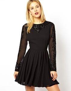 Asos Gothic Embellished Skater Dress - Black