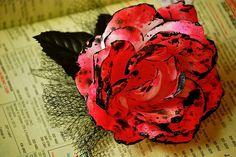 graffiti rose hair clip