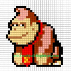 Donkey Kong perler bead pattern, but I think I can make with duplicate stitch. Scarf for the nephew :)