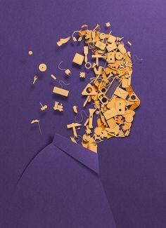 Editorial illustration by Eiko Ojala Eiko Ojala, Colossal Art, Paper Illustration, Paper Artwork, Design Poster, Web Design, Grafik Design, Illustrations And Posters, Photomontage