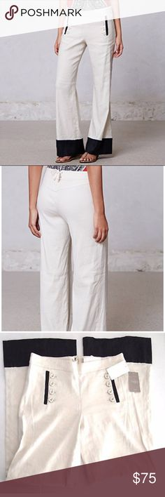 """NWT Leifsdottir Starboard Colorblock Linen Pants 6 Women's Anthropologie Leifsdottir pants    linen blend MSRP $118    Condition rating is 10/10 NEW WITH TAGS.  Tag indicates a women's size 6 but please check the actual measurements below to ensure a correct fit. Compare measurements to well fitting pants for best results.     Waist = 30 inches  Inseam = 33"""" Front rise = 9.5"""" Anthropologie Pants Wide Leg"""