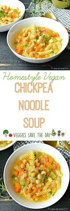 Chickpea Noodle Soup is comforting nourishing. It's just one of many fabulous plant-based recipes from the new cookbook Homestyle Vegan by Amber St. (Vegan, gluten-free option) More. Vegan Recipes Easy, Veggie Recipes, Whole Food Recipes, Soup Recipes, Chicken Recipes, Cooking Recipes, Cookbook Recipes, Veggie Dinners, Homemade Cookbook