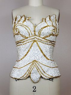 12600df786 Art Deco Crystal Embellished Bustier   Rhinestone Encrusted Gold Beaded  Strapless Top S M