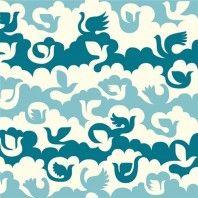 Birds and Clouds Blue - Ipanema - Dennis Bennett - Birch Organic Fabrics
